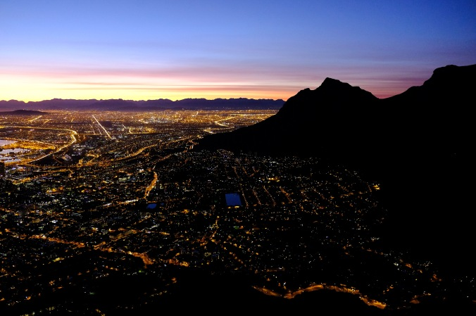 Dawn over Cape Town on a Lion's Head sunrise hike
