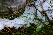 Hail on the upper mountain slopes seen on the hike up